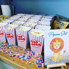 Circus first birthday popcorn, for adults and children Birthday Popcorn, Circus First Birthday, Carnival Birthday Parties, Birthday Celebration, Birthday Party Themes, First Birthdays, Celebrations, Graduation, Goodies