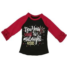New Year Wishes and Midnight Kisses Shirt New Year Wishes, New Year Gifts, New Baby Gifts, New Years Shirts, New Years Outfit, Ruffle Shirt, Thanksgiving Outfit, Cute Outfits For Kids, New Years Party