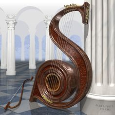 Realistic looking Carved S shape Harp with fantasy architecture columns as background! More than 6 strings of course, but still fun for #cSw's 4 5 6 STRINGS #Pinterest board full of stringed musical instruments! MOST POPULAR RE-PINS #DdO:) - https://www.pinterest.com/claxtonw/4-5-6-strings/ - Sylvania reported that this is CG art by Lutkus, on letterplayground;com -- for the letter S, of course. Pinned via a different source -- .lettercult;.com/archives/2314#more-2314