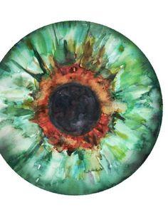 Green Iris Watercolor Print Abstract Eye Art Anatomy by LyonRoad