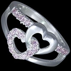 Silver ring, CZ, lovely hearts Silver ring, Ag 925/1000. With stones (CZ - cubic zirconia). Sweet intertwined hearts. One heart is smooth, other is set with zircons in pave. The stones are set by goldsmiths, not glued! Heart dimensions approx. 9x9 mm.