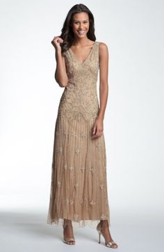 Free shipping and returns on Pisarro Nights V-Neck Beaded Sequin Gown at Nordstrom.com. Intricately embroidered metallic beads and sequins illuminate the sheer mesh overlay of a double V-neck, drop-waist gown.
