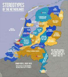 Je kan Nederland geografisch natuurlijk indelen aan de hand van inwoners van een stad of volgens de provinciegrenzen. Op Reddit heeft een student stereotypen en clichés over Nederland in een kaart gezet. En dan krijg je gebieden waar 'incestueuze vissers' (Volendam), 'stoïcijnse boeren' (Groningen) en 'arrogante eikels' (Amsterdam) wonen.