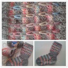 Lumioosi: Kerrosrivinoususukat Knit Or Crochet, Crochet Stitches, Knitting Socks, Knit Socks, Fingerless Gloves, Arm Warmers, Mittens, Pattern, Crafts