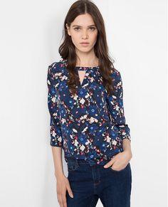 Blusa de seda estampada VALTEAU - Color BLEU DE PRUSSE