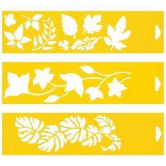 30cm x 8cm (Juego de 3) Stencil Plantilla Plástico Reutilizable para Decoración Pasteles Paredes Tela Muebles Manualidades Arte Artesanía Diseno Gráfico Dibujo Técnico - Hojas de árbol: Amazon.es: Juguetes y juegos