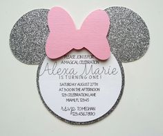 Minnie Mouse Invitation Pink and Silver Minnie by ExclusiveAllure