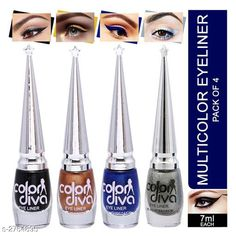Checkout this latest Eyeliners Product Name: *Color Diva Eyeliner ( Pack Of 4 )* Product Name: Color Diva Eyeliner ( Pack Of 4 ) Brand Name: Color Divine Shade: Black Type: Liquid Multipack: 4 Country of Origin: India Easy Returns Available In Case Of Any Issue   Catalog Rating: ★3.9 (2002)  Catalog Name: Color Diva Eyeliner Vol 2 CatalogID_375011 C178-SC1967 Code: 391-2764895-0011