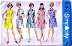 1960's dress pattern / 5 styles of shirt and collarless dress. £3.00  www.hurdyburdy.etsy.com