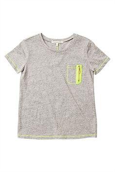 Fluro Trim Zipper T-Shirt