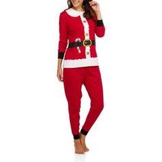 Secret Treasures Women's Christmas Pajamas - Long Sleeve Knit Sleep Top and Jogger Sleep Pant 2 Piece Sleepwear Set (Sizes S-3X), Size: Medium, Red