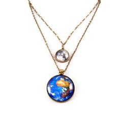Earth and Moon Planet Necklace, Statement Necklace, Pendant Necklace, Science Jewelry on Etsy, $29.95