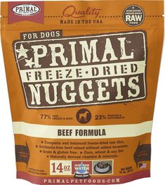 Primal Beef Formula Nuggets Freeze-dried Dog Food offers the convenience and benefits of a well-balanced, safe and wholesome raw-food diet without having to grind, chop, measure or mix it yourself. Only the freshest, human-grade ingredients are used, including real beef that's free of antibiotics, steroids and added hormones. Certified organic produce, certified organic minerals and unrefined vitamins are also incorporated to fortify this complete and balanced diet. The combination offers…