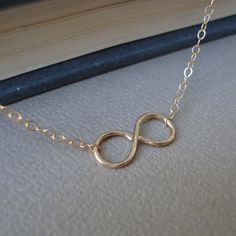 Infinity Necklace Hammered  Pendant  All GOLD FILLED  by lizix26, $25.00