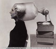 Portable electric hair dryers, 1961  This model is typical of dryers that constrain the user with a short, close-coupled hood. We judge this type least convenient.