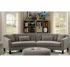 Sarin Warm Gray Sectional Sofa by Furniture of America