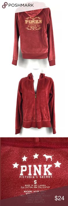 """Victoria's Secret Pink Velour Hooded Jacket Small Victoria's Secret Velour Hooded Jacket. Size Small. Has Embroidered Back with """" Pinks '86 World Tour. Jacket is Burgundy with Gold Embroidery. PLEASE NOTE: Jacket has a couple small spots on one sleeve and it is shown in the pictures. Please see measurements and pictures for details.  Underarm to Underarm 18""""  Center Back Length 24"""" PINK Victoria's Secret Jackets & Coats"""