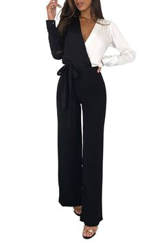 c2aad7b39e1 Ladies Black Two Tone Asymmetric Wide Leg Jumpsuit