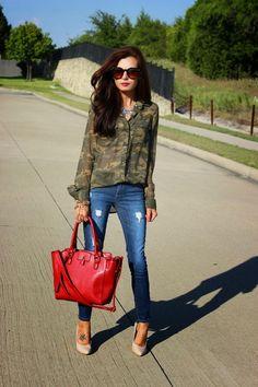 #BeautyBrawler replicates blogger's looks on a budget! #camo #redsatchel #NudePumps #RoundSunglasses