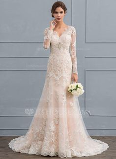 Trumpet/Mermaid V-neck Court Train Zipper Up Covered Button Sleeves Long Sleeves Church General Plus No Winter Spring Summer Fall Other Colors Tulle Lace Hight:5.6ft Bust:32in Waist:23in Hips:35in US 2 / UK 6 / EU 32 Wedding Dress