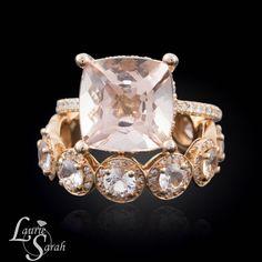 5 carat Morganite Engagement Ring, Cushion Cut Morganite Engagement Ring, Morganite Wedding Set, Peach Sapphire Wedding Band — LS3772