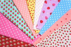 Strawberry  and dots Fabric Scrap set of 10 by beautifulwork, $7.50