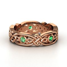 14K Rose Gold Ring with Emerald | Brilliant Alhambra Band | Gemvara (<3 love love love)
