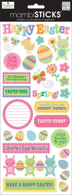 These are no ordinary stickers. Each sticker sheet features an awesome, specialty treatment! Perfect for that extra bit of pizazz! Each package contains a x sticker sheet. Hoppy Easter, Easter Bunny, Easter Eggs, Easter Cookies, Easter Treats, Easter Stickers, Easter Parade, Festa Party, Easter Printables