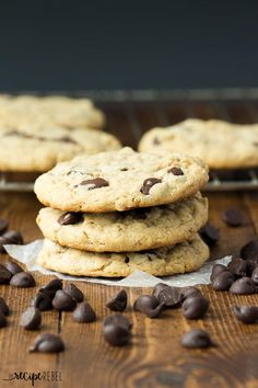 Peanut Butter Oatmeal Chocolate Chip Cookies   Chocolate and peanut butter go so well together!