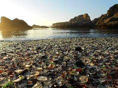 Glass Beach in Fort Bragg, CA. we were in Fort Bragg a month ago, went to the coast, got tired of searching for this beach for 5 minutes, and left. on the plus side there is a less notorious glass beach somewhere in BC. Beautiful Places In The World, Oh The Places You'll Go, Places To Travel, Places To Visit, Amazing Places, Beautiful Beaches, Glass Beach California, Fort Bragg California, California Usa