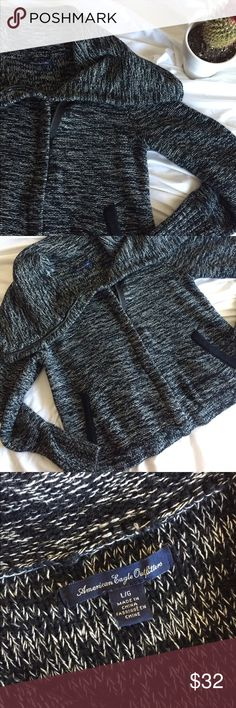 American Eagle Sweater 💖 Black and White speckled American Eagle zip-up sweater 🖤 Open to offers.  Join me on IG: @kaias_kloset 💋 American Eagle Outfitters Sweaters