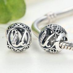 Alphabet Beads - U to Z - Vintage Sterling Silver 925