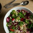 Orzo Salad. 3 out of 5. I might do it again w adjustments, bc I love these ingredients! As is, it is bland in taste. I'd half the orzo to 1/2 a lb (or 1 C), the peppery arugula & radicchio's bitter & spicy taste would come out more w less pasta. I'd also increase the lemon juice to 1/2 C & the garlic to 2 cloves; use about 1/4 tsp of pepper & salt generous to taste (it really needs seasoned--I'd do it by taste gradually).