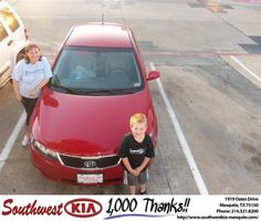 #HappyAnniversary to Anne Sampsel on your 2013 #Kia #Forte from Constatine Boury at Southwest Kia Mesquite!