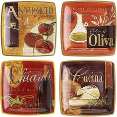 Assorted Cucina Canape Plates - these would look soo pretty hanging on the red wall in my kitchen.