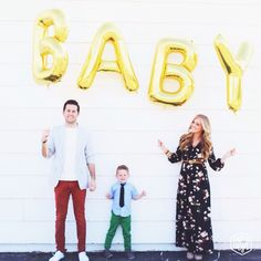 Adorable baby announcement with balloons