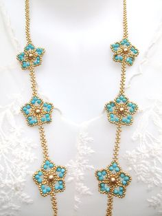 Collar cuentas turquesa cristales Swarovski perlas perlas oro