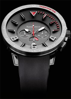 Tendence Sport Black/Red Chrono    SPECS:  CASE: 50MM STAINLESS STEEL & NYLERAMIC     CRYSTAL: MINERAL LENS  STRAP: SILICON  WATER RESISTANCE: 10 ATM (100M / 330 FT)  MOVEMENT: MIYOTA  GENDER: UNISEX  CROWN: SCREW DOWN