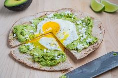 breakfast pizza- cant mess up avocado and egg.