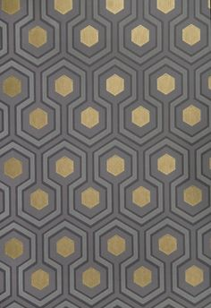 Wallpaper Hicks' Hexagon Wallpaper Small Geometric Design design wallpaper in Grey and Charcoal with metallic gold embellishment.Hicks' Hexagon Wallpaper Small Geometric Design design wallpaper in Grey and Charcoal with metallic gold embellishment. Hexagon Wallpaper, Metallic Wallpaper, Geometric Wallpaper, Grey And Gold Wallpaper, Painting Wallpaper, Fabric Wallpaper, Wallpaper Decor, Wallpaper Ideas, Tapete Gold