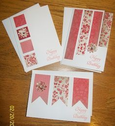 Love these quick and easy card ideas from the Crazy Stamping Lady. :) by Kimara Handmade Birthday Cards, Happy Birthday Cards, Greeting Cards Handmade, Simple Handmade Cards, Simple Birthday Cards, Diy Birthday, Quick Cards, Cute Cards, Diy Cards