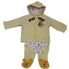39093ad4714d7 Amazon.com: Disney Baby Girls Yellow Winnie The Pooh Onesie Hooded Top 3 Pc  Pant Set 3-9M: Clothing