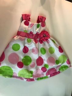 b58e2b2f86ce8 Rate Editions Baby Girl 12 Month White Pink Green Polka Dot Dress Easter  #fashion #