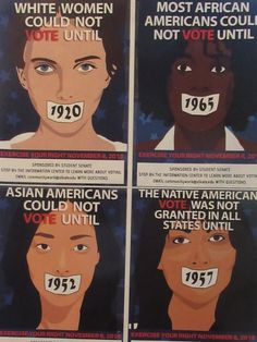 --White women could not vote until 1920 (The 19th Amendment to the U.S. Constitution was ratified on August 18, 1920)  --Asian Americans could not vote until 1952 (Federal policy barred immigrants of Asian descent from becoming U.S. citizens until 1952)  --The Native American vote was not granted in all states until 1957 (This is incorrect. States slowly overturned provisions that kept Native People from voting until the last state, New Mexico, overturned its own provisions in 1962.)