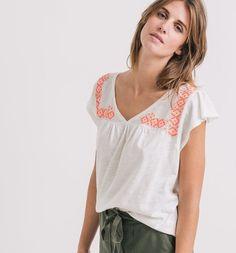 T-shirt++brodé+Femme