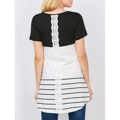 Color Block Stripe Tunic Top In Black | Twinkledeals.com