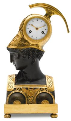 c1810 An ormolu and patinated bronze mantel clock modelled as a bust of Minerva, French, circa 1810 12,000 — 18,000 GBP 18,836 - 28,255USD LOT SOLD. 15,000 GBP (23,546 USD) (Hammer Price with Buyer's Premium)