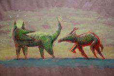"""€du∆rdo √.- drawings, crayons, water color-   """"Dogs"""""""