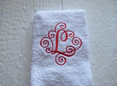 Mongrammed HAND/KITCHEN Towels Scroll Font  by LMTCreativeDesigns