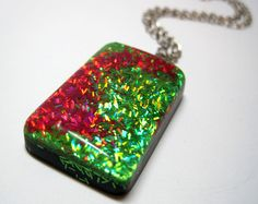 Green and Red Holographic Glitter Rectangle by ExperienceDesigns, $17.00